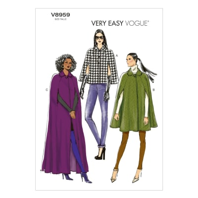 Vogue Misses' Cape Pattern V8959 Size 0Y0