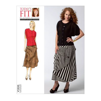 Vogue Misses' Blouse and Skirt Pattern V1333 Size OSZ