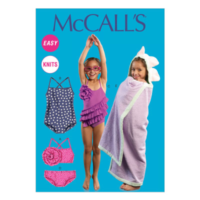 McCall's Toddlers'/Children's Swimsuits and Cover-Up Pattern M6729 Size CCE