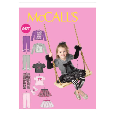 McCall's Toddlers'/Children's Tops, Skirt, Leggings and Arm Warmers Pattern M6593 Size CB0