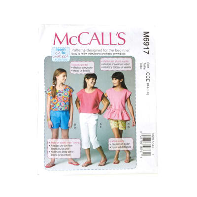 McCall's Children's/Girls' Tops, Shorts and Pants Pattern M6917 Size CCE