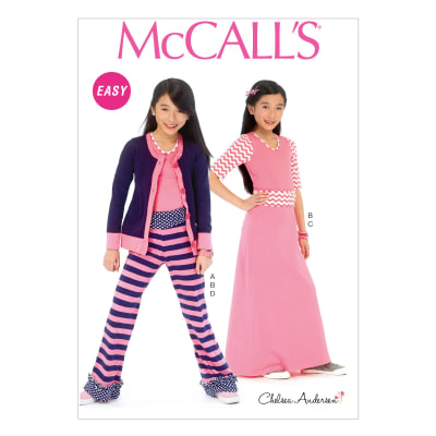 McCall's Girls'/Girls' Plus Cardigan, Top, Skirt and Pants Pattern M6985 Size GRL