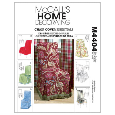 McCall's Chair Cover Essentials Pattern M4404 Size OSZ