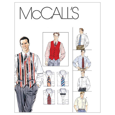 McCall's Men's Lined Vest, Shirt, Tie In Two Lengths and Bow Tie Pattern M2447 Size 0Y0