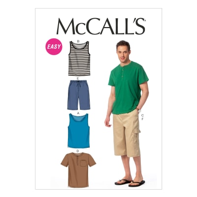 McCall's Men's Tank Tops, T-Shirts and Shorts Pattern M6973 Size XM0