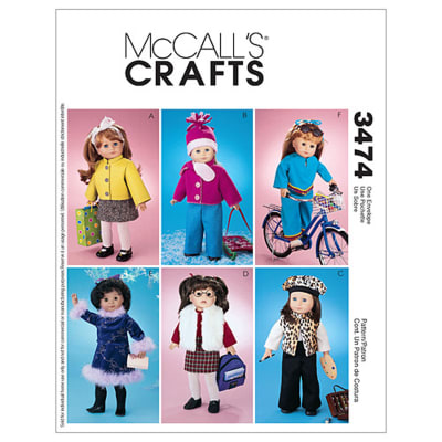 """McCall's 18"""" Doll Accessories Pattern M3474 Size OSZ"""