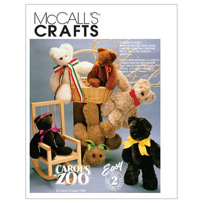 McCall's Stuffed Animals Pattern M6188 Size OSZ