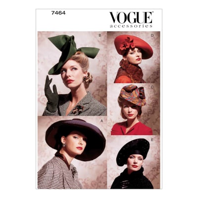 1940s Sewing Patterns – Dresses, Overalls, Lingerie etc Vogue V7464 Vintage Hats Pattern OSZ (One Size) $12.98 AT vintagedancer.com