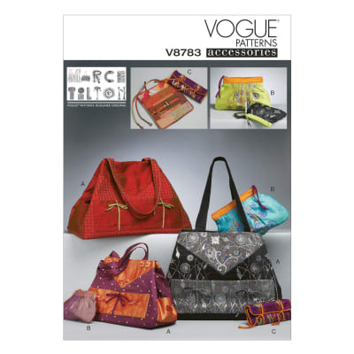 Vogue Tote And Zip Case In 2 Sizes And Jewelry Case Pattern V8783 Size OSZ