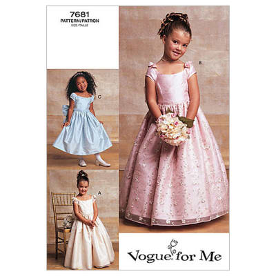 Vogue Children's / Girls' Lined, Evening Or Lower Calf Length Dress Pattern V7681 Size 020