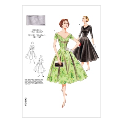 1950s Sewing Patterns | Dresses, Skirts, Tops, Mens 1957 Vogue V2903 Misses/Misses Petite Dress Pattern Size 0A0 $14.53 AT vintagedancer.com