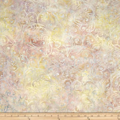 Wilmington Batiks Scrolly Leaves Pastel Grey/Pink