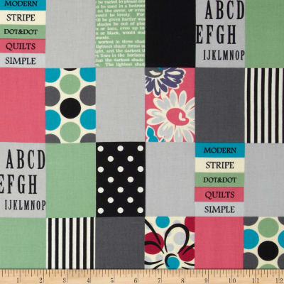 Lecien Spicy Scrap Strip Dot Patch Grey