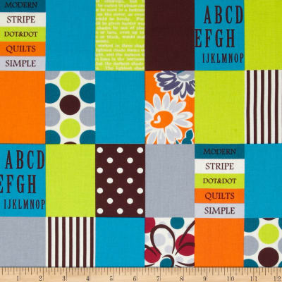 Lecien Spicy Scrap Strip Dot Patch Brown