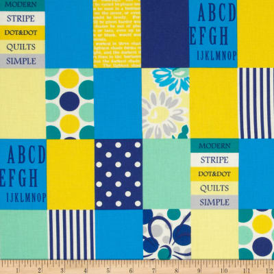 Lecien Spicy Scrap Strip Dot Patch Blue