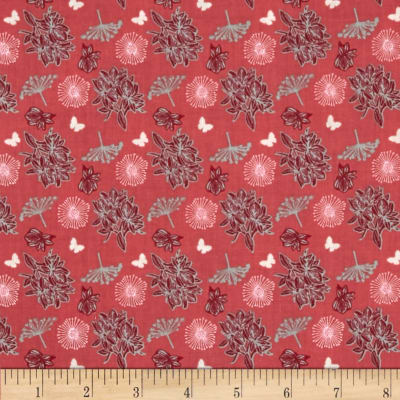 Fabric Freedom Springtime Floral Tossed Flowers Coral