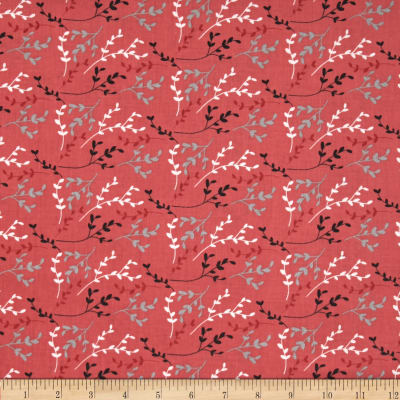 Fabric Freedom Springtime Floral Viney Sprigs Coral
