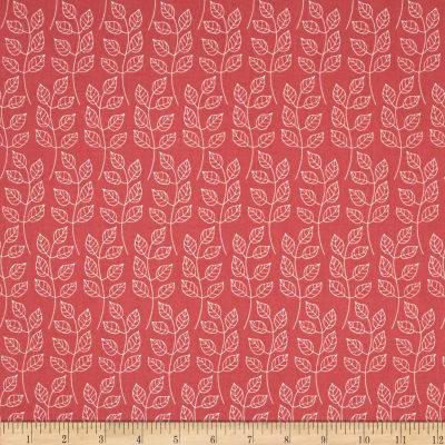 Fabric Freedom Springtime Floral Leafy Branch Coral
