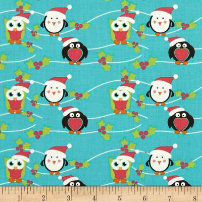 Fabric Freedom Christmas Character Owls & Penguins Turquoise