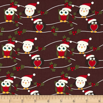 Fabric Freedom Christmas Character Owls & Penguins Black