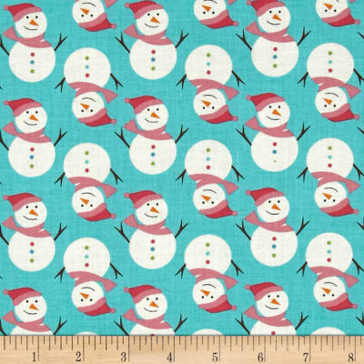 Fabric Freedom Christmas Character Smiley Snowmen Turquoise