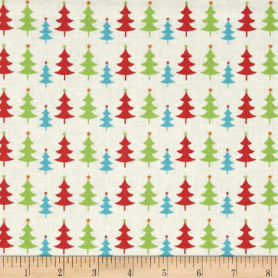 Fabric Freedom Christmas Character Little Trees Green