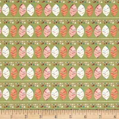 Fabric Freedom Woodland Floral Stripe Green