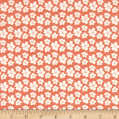 Fabric Freedom Woodland Floral White Flowers Orange