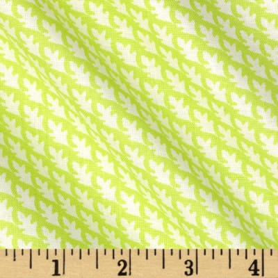Fabric Freedom Woodland Floral Diagonal Leaf Green
