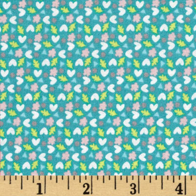 Fabric Freedom Woodland Floral Hearts & Leaves Turquoise