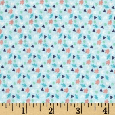 Fabric Freedom Woodland Floral Hearts & Leaves Blue