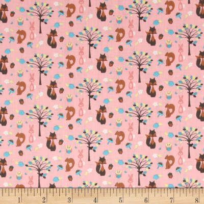 Fabric Freedom Woodland Animals Animals & Trees Pink