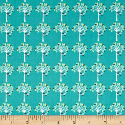 Fabric Freedom Woodland Animals Little Trees Aqua