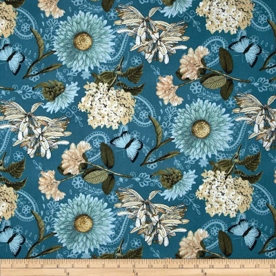 Vintage Garden Large Allover Teal