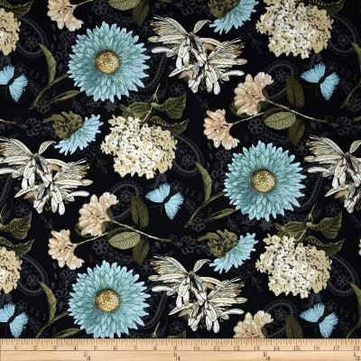 Vintage Garden Large Allover Black