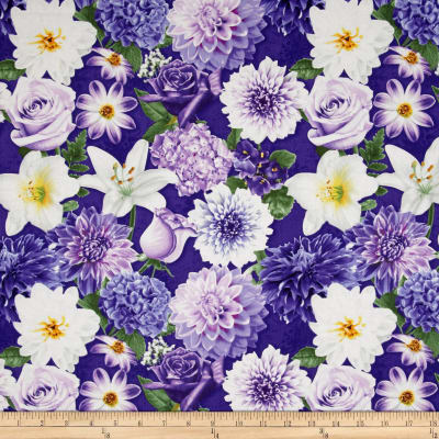 Shades of Violet Large Allover Floral Dark Violet