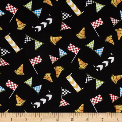 Race Day Flags & Cones Allover Black