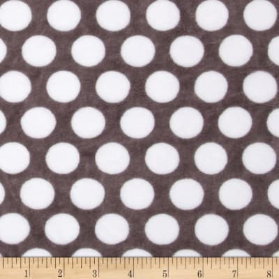 Shannon Minky Cuddle Classic Mod Dot Charcoal/Snow
