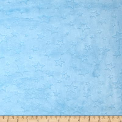 Shannon Minky Embossed Star Cuddle Baby Blue
