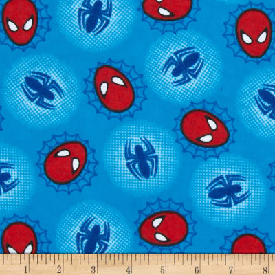 Marvel Comics Spiderman Flannel Head Web and Spider Toss Blue