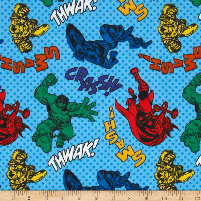 Marvel Comics Flannel Characters with Dots Blue