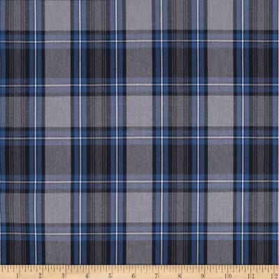 Poly/Cotton Uniform Plaid Blue/Black/White