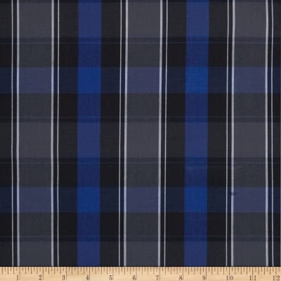 Poly/Cotton Uniform Plaid Blue/Black/White/Grey