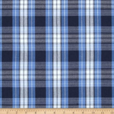 Poly Cotton Uniform Plaid Blue Navy White Poplin