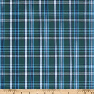 Poly/Cotton Uniform Plaid Green/Blue/White