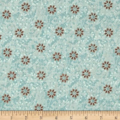 Bohemian Chic Small Tossed Floral Light Teal