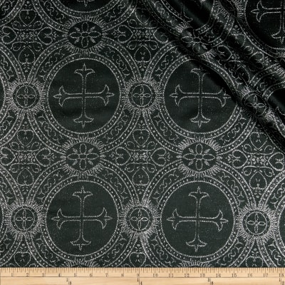Clergy Metallic Brocade Black/Silver
