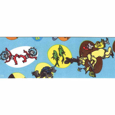 "7/8"" Dr. Seuss Characters Ribbon Blue"