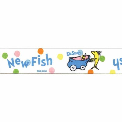 "7/8"" Dr. Seuss Baby New Fish Ribbon White"