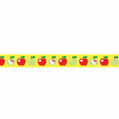 "7/8"" Hello Kitty Apple Ribbon Maize"
